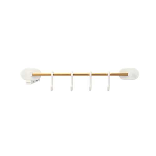 Golden Adhesive Rack With 4 Hooks