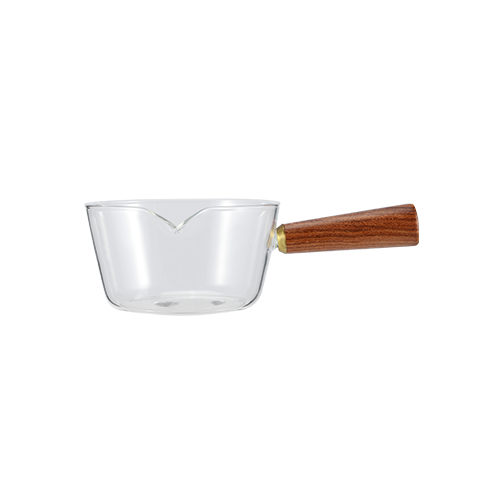 Glass Sauce Pot With Wooden Handle