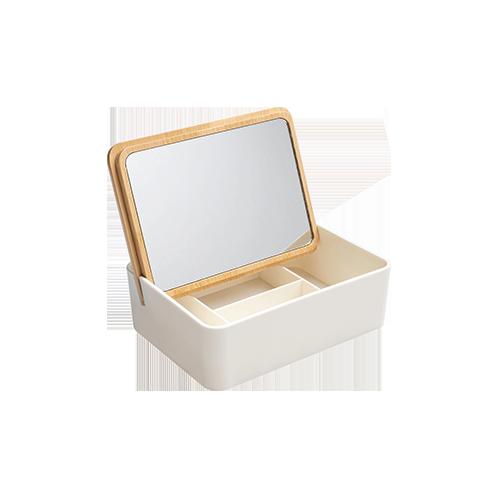 Wooden Jewelry Storage Box With Mirror