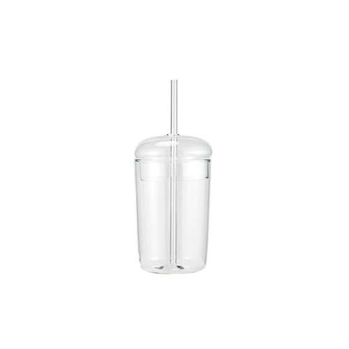 Clear Milk Bottle With Straw